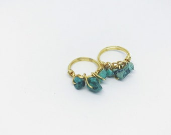 Raw Turquoise Stackable Wire Wrapped Ring