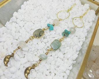 Moon + Stone Earrings