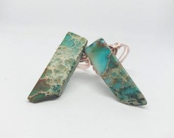 Polished Turquoise Long Stone Ring