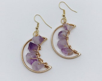 Amethyst Celestial Moon Earrings