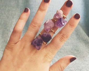 Purple Amethyst Gemstone Stackable Ring