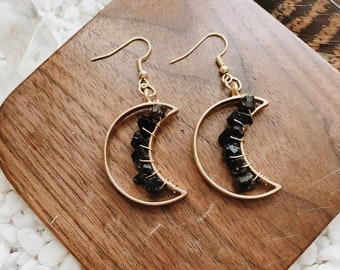 Tourmaline Celestial Moon Earrings