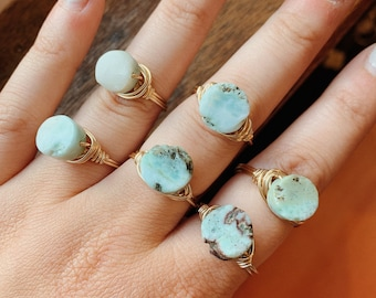 Larimar Wrapped Ring