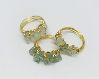 Aquamarine Stackable Wire Wrapped Ring
