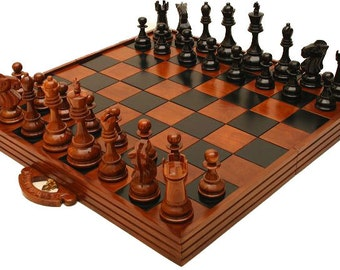 """Handcrafted Giant 8"""" (20cm) Teak Chess, Checkers and Board Package"""