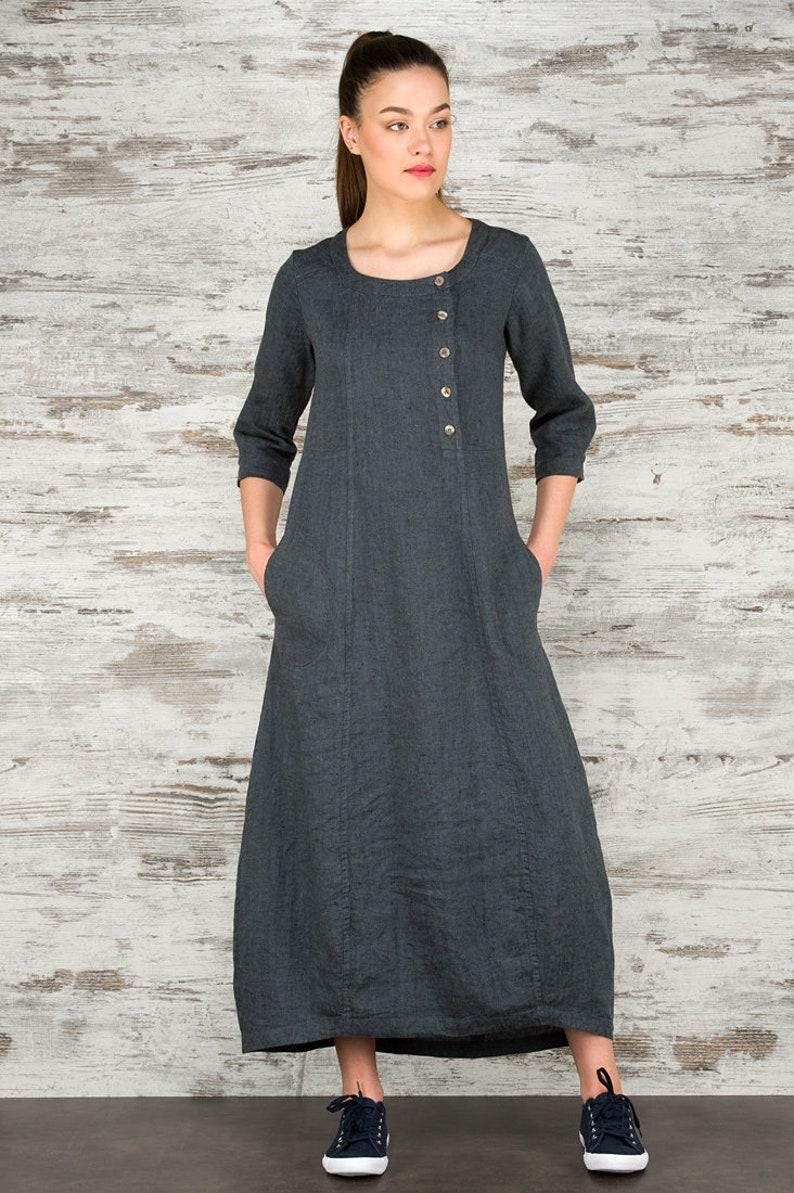 c211aaa44032 Linen women dress Pure linen dress Dark grey dress Spring | Etsy