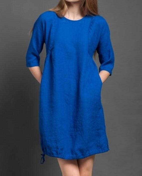 Robe Femme Lin Robe En Pur Lin Robe Bleue Robe Lin Eco Etsy