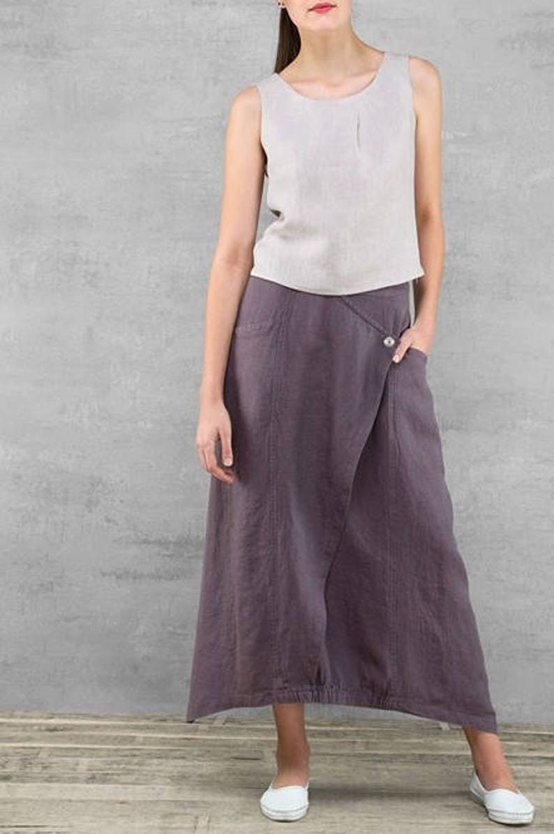 buy online 5ff4d 103f4 Gonna donna lino, puro lino gonna lunga, gonna di lino viola scuro, gonna  di lino, lino abbigliamento, vestiti di lino, lino gonna lunga
