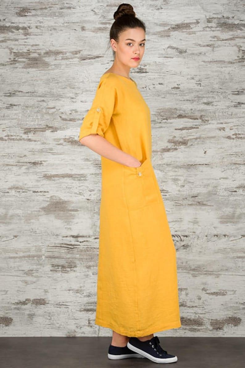 c1e5bd2239 Linen women dress Pure linen dress YELLOW linen dress