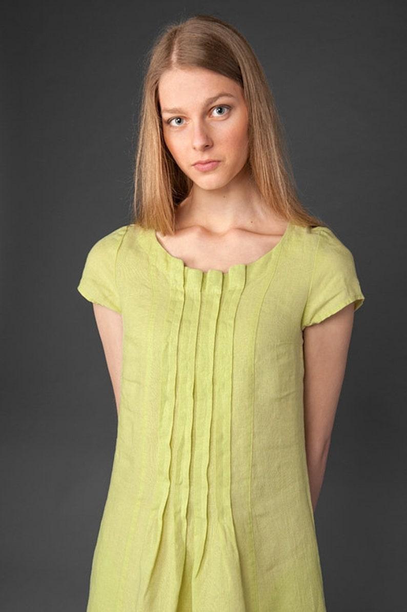 e738b06106 Linen women dress Pure linen dress Light green yellow dress