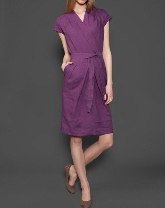 nuovo arrivo d37fb d1f24 Abito donna lino, puro lino, viola vestito, vestito di lino, lino  abbigliamento, indumenti di lino, vestito di lino biologico