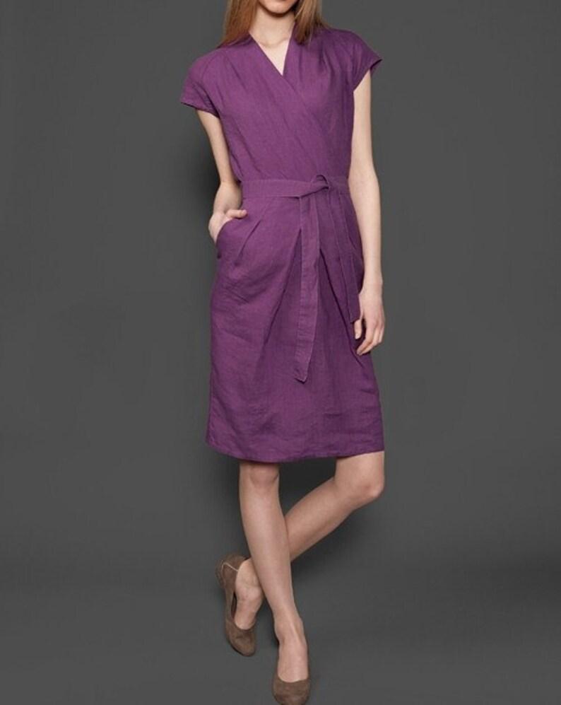 a3c05926f8 Sukienki lniane kobiety czysta lniana sukienka fioletowa