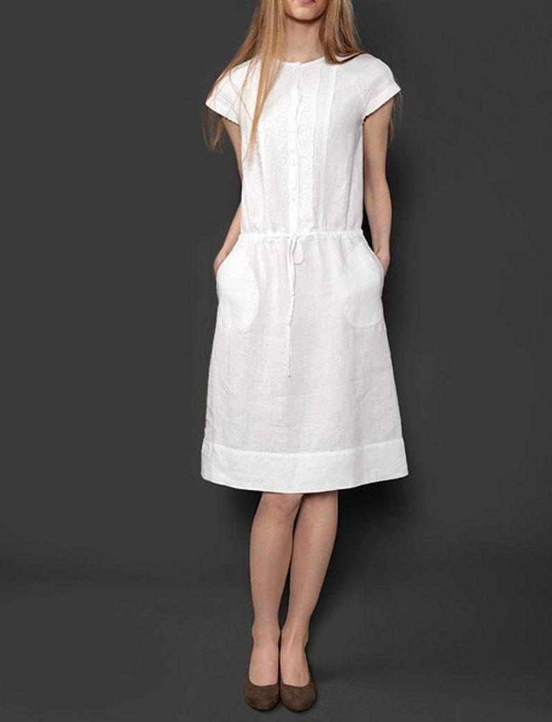 eb3bde1905a9 Abito donna lino puro lino vestito di bianco naturale