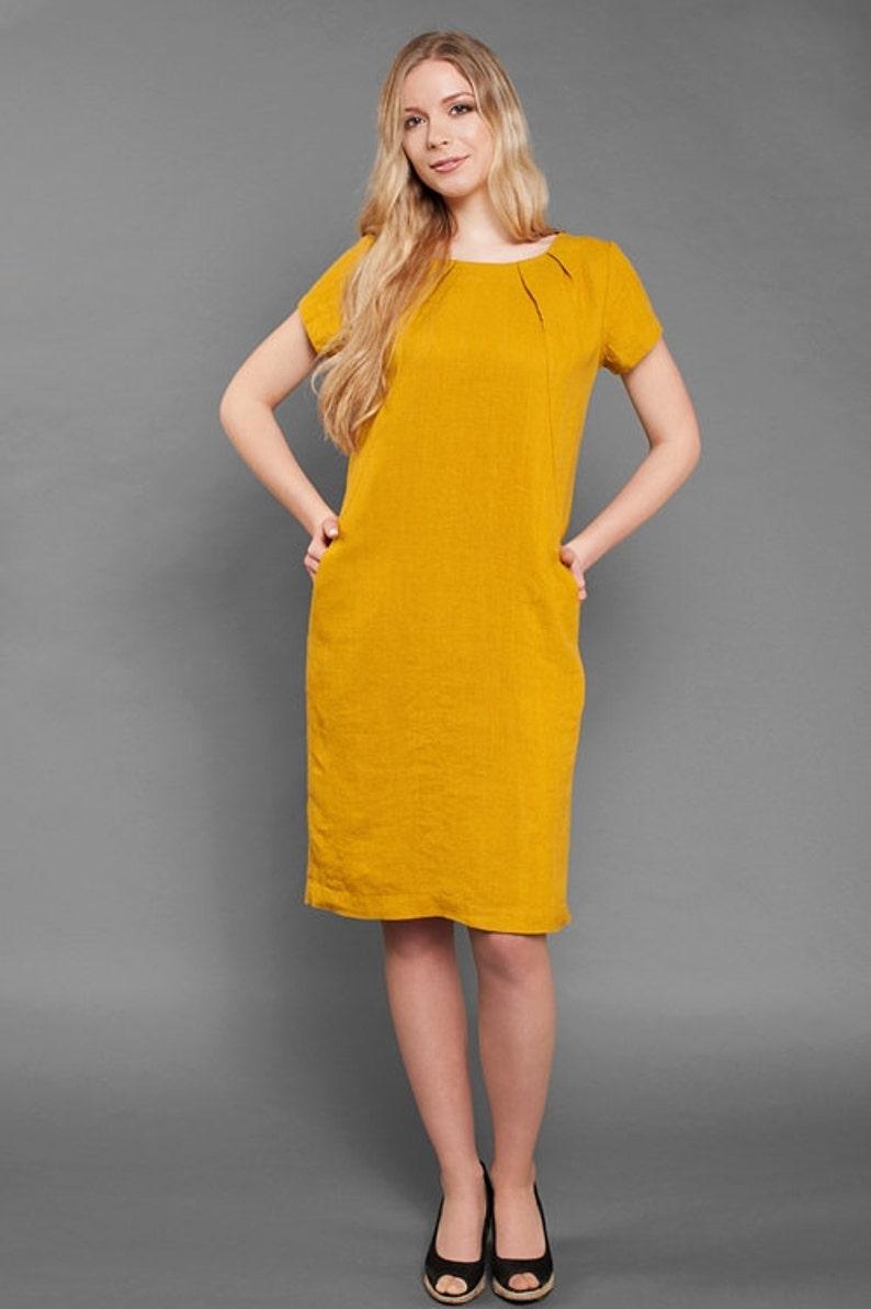 aadb76b1a7 Linen women dress Pure linen dress Yellow dress Eco Linen