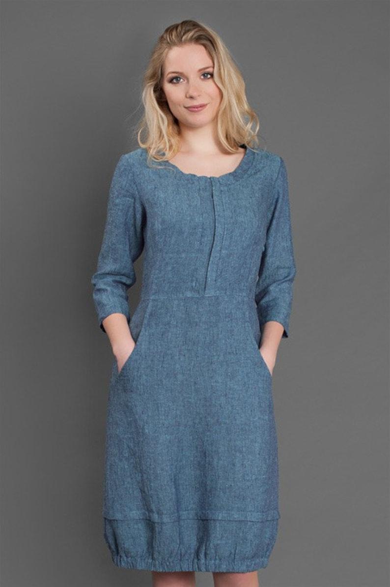 c66ac6a16188 Linen women dress Pure linen dress Blue dress Linen Dress | Etsy