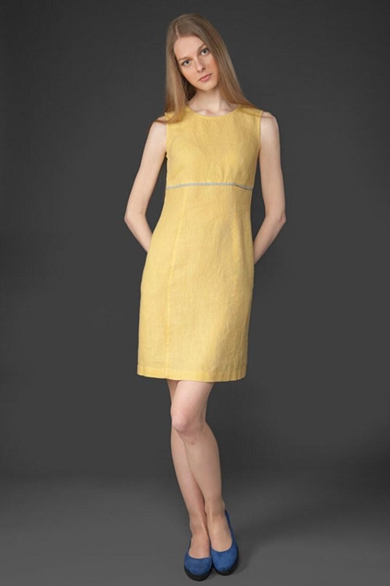 Linen clothing Pastel Yellow dress Linen women dress linen clothes Organic Linen Dress Eco Linen Dress Pure linen dress