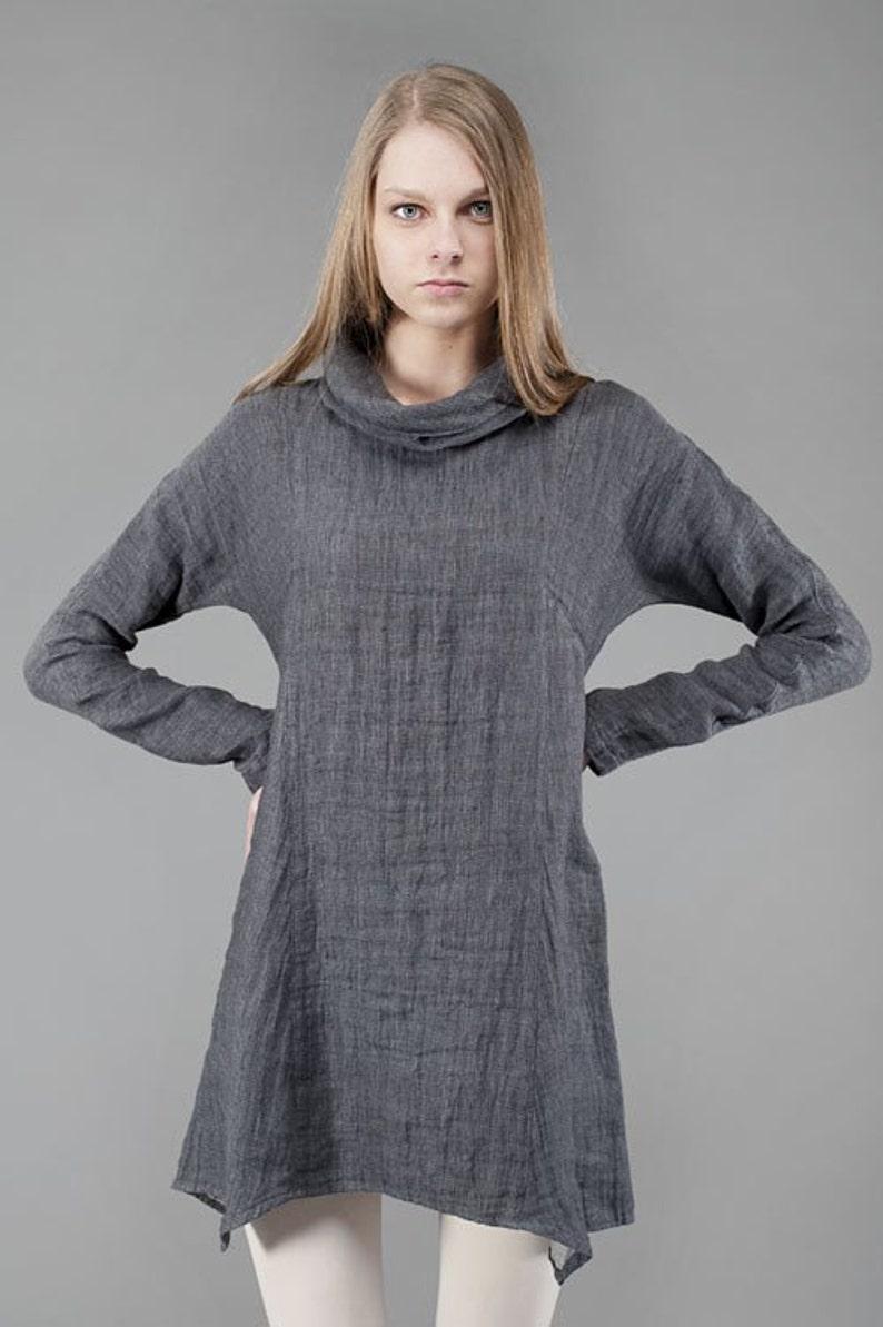 d58dd5ded4f1 Linen women tunic Pure linen dress Dark Grey Tunic Linen | Etsy