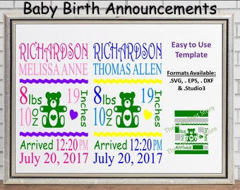 baby birth announcements20 template girl boy neutral svg etsy