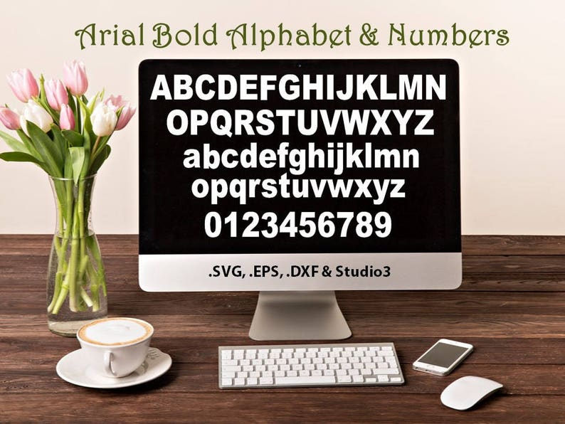 Arial Bold Alphabet and Numbers in  SVG  EPS  DXF &  Studio3 formats Craft  Cut Die Cutters Digital Vector Files Instant Download