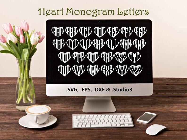 Heart Monogram Letters in .SVG .EPS .DXF & .Studio3 formats image 0