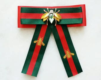 Fashionable handmade green Gucci  inspired red striped bow brooch tie with a green and golden crystal bee  inspirational gift