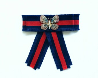 Fashionable handmade blue and red Gucci inspired striped brooch with pearl crystal butterfly bee classic inspirational style and gift idea