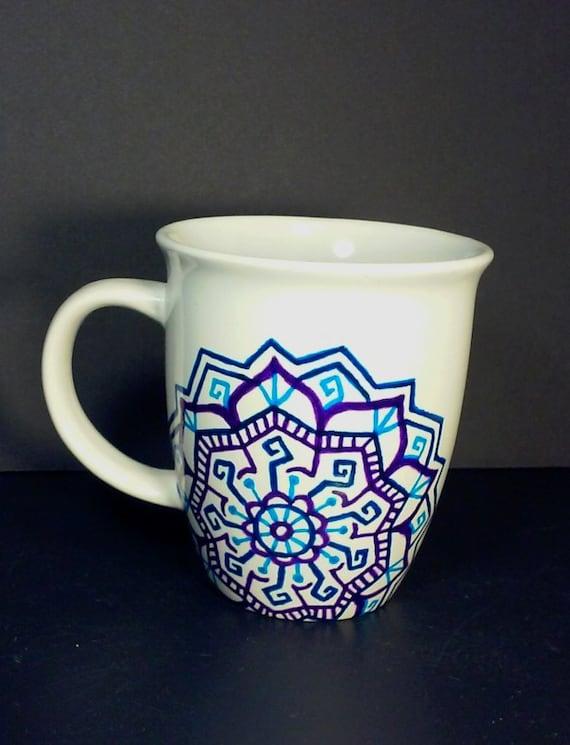 12 Oz White Coffee Mug With Unique Hand Painted Purple Light Etsy