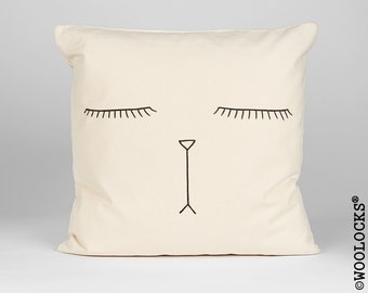 Woolocks® Sleeping Cat Face Cushion 45x45cm