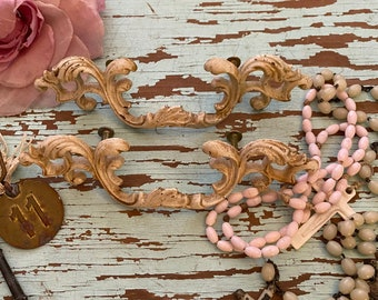 Painted Cottage Prairie Chic Vintage French Provincial Drawer Pulls French Hardware P176