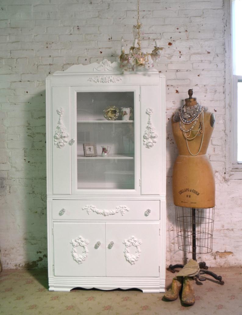 Painted Cottage Chic Shabby White Romantic French China Cabinetcc1077