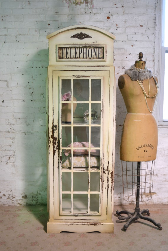 Painted Cottage Prairie Chic Farmhouse Phone Booth China / Linen Cabinet  FREE SHIPPING