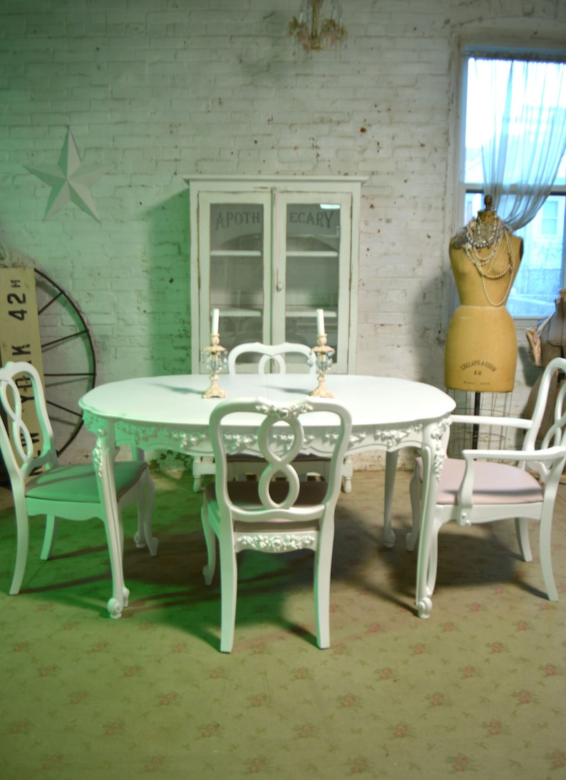 Painted Cottage Chic Shabby French Provincial Farmhouse Kitchen Table  Dining Table TBL265