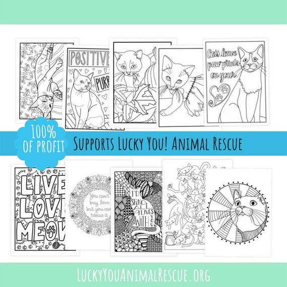 Printable Coloring Book Cat Coloring Pages Lucky You Animal | Etsy