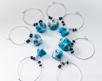 Dungeons and Dragons Inspired D20 Polyhedral  Set of Dice Glass Charms D&D