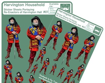 Knight stickers Man at Arms design. Harvington Household portrait. Happy planner, diaries, bullet journal, calendar and scrapbooking Style 2