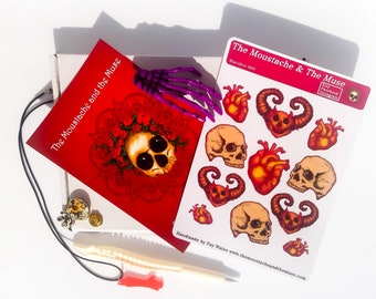 Halloween Mystery Box / Trick or Treat Box; Stickers, Pens, Stationary, Keyrings, Hair Slide, Necklace, Pin Badge, Skeleton, Macabre, Gothic