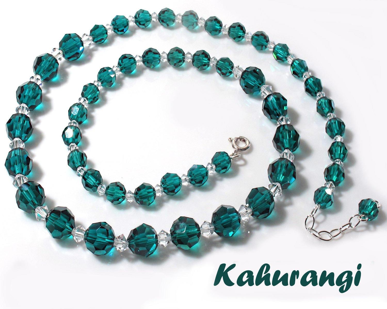 67b173602d9a Green necklaceEmerald green necklaceProm Swarovski