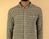 Vintage Earth Tone Button Down Shirt Small Flannel Style Small