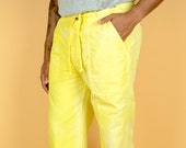 Vintage Yellow Turmeric Tie Dye Elastic Waist Lounge Beach Pants Summer Medium Large