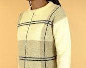 Vintage Wool Beige Plaid Unisex Pullover Sweater (Medium, Large)