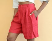 Vintage Linen Cranberry Red High Rise Shorts