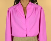 Vintage Hot Pink Short Sleeve Collar Shirt Blouse
