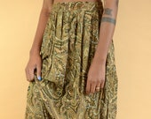 Vintage Paisley Earth Tone High Waist A-Line Skirt
