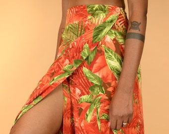 Vintage Red Floral Plant Print High Waist Front Flap Maxi Skirt