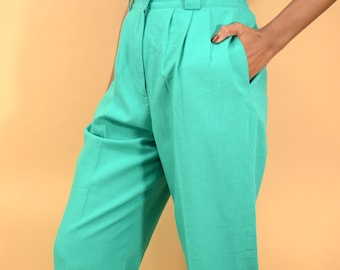Vintage Turquoise Teal High Rise Pleated Trousers