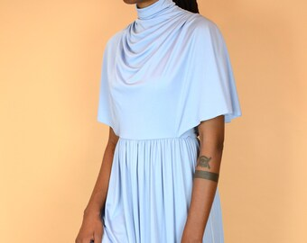 Vintage 1970s Baby Blue Turtle High Neck A-Line Maxi Ruffle Dress