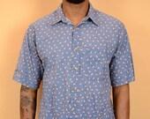 Vintage Blue Paisley Print Short Button Down Shirt Oversize Large