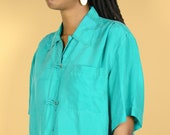 Vintage Silk Unisex Turquoise Short Sleeve Button Down Shirt