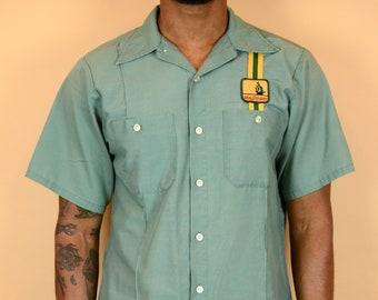 Vintage Green Mayflower Workwear Short Sleeve Camp Collar Shirt