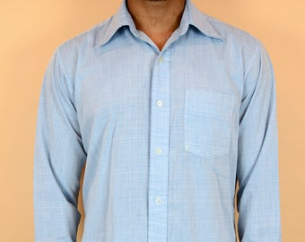 Vintage 70s Blue Button Down Western Chambray Workwear Shirt (Medium, Large)